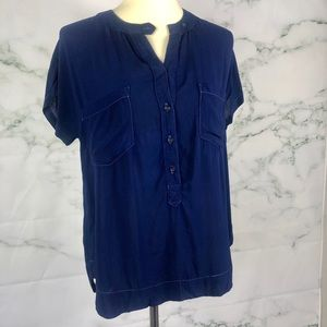 ANTHROPOLOGIE CLOTH & STONE Navy Blue Top